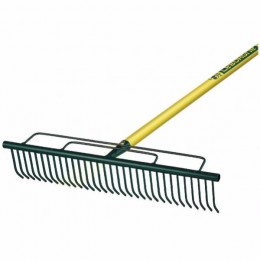 Lawn rake reinforced outer tine